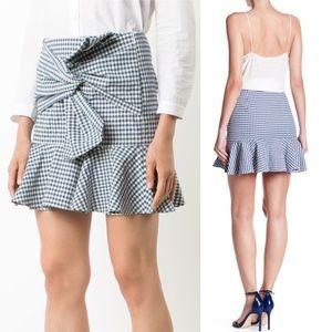 Veronica Beard picnic bow blue gingham mini skirt